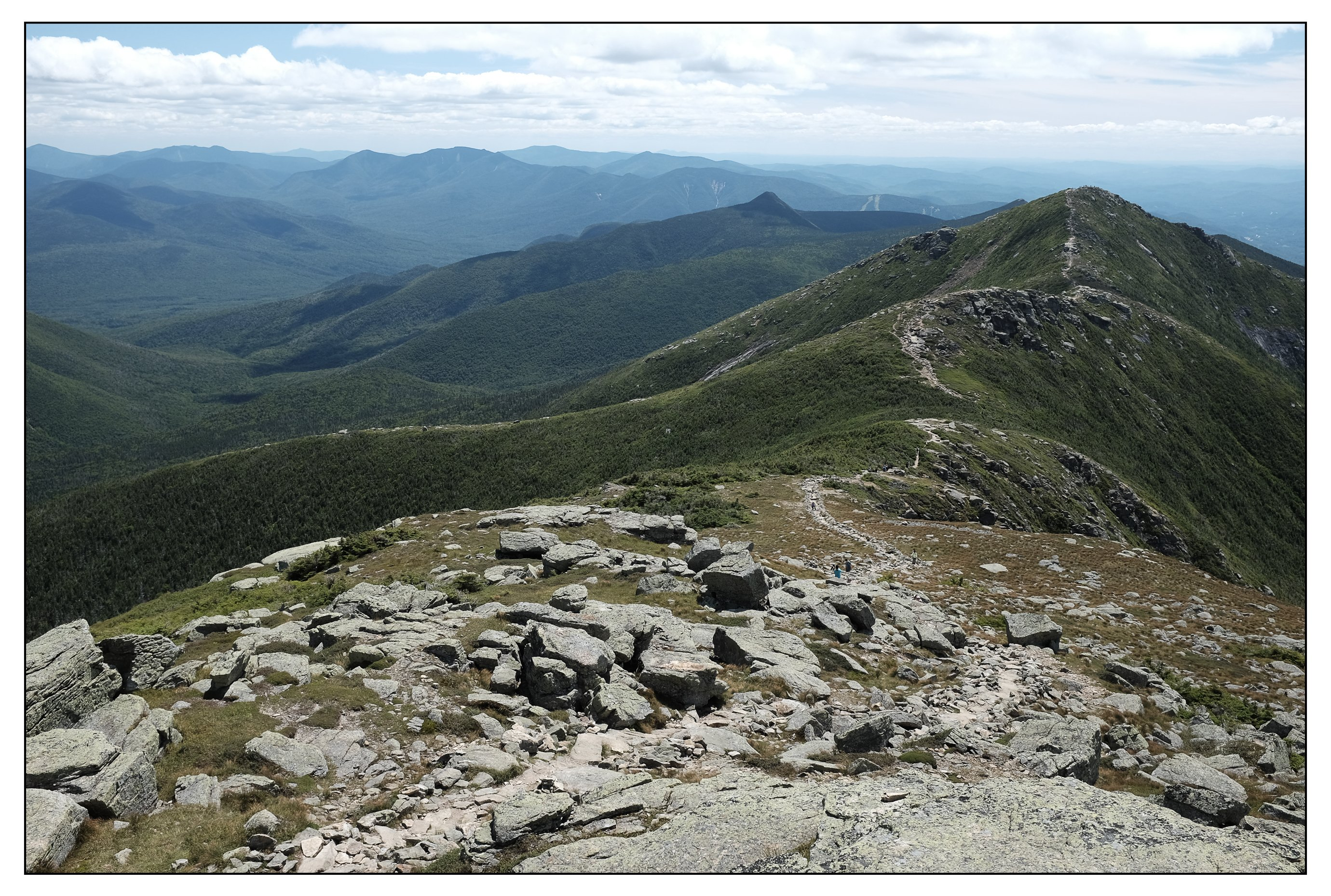 The view looking south along the Franconia Ridge from the summit of Mt. Lafayette.